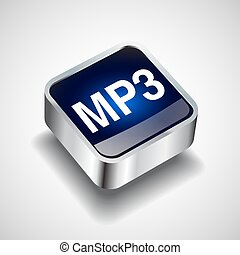 Brown icon on the round button with shadow. Vector icon download mp3 file