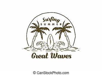 Brown illustration drawing of surfing board and wave on the beach
