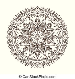 brown isolated arabesque mandala with leaves