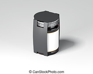 Brown jar with white label and black cover. 3d rendering