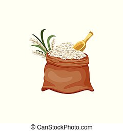 Brown jute sackcloth bag filled with white grain and rice plant. Open sack full of white food grain with yellow shamoji paddle - isolated flat cartoon vector illustration on white background