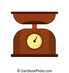Brown kitchen scales icon, flat style
