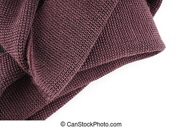 brown knitted fabric on white background