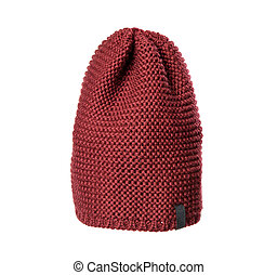 brown knitted hat isolated on white background