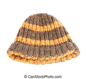 Brown knitted head cap with the orange stripes, isolated over the white background