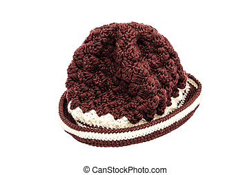 Brown knitted wool hat isolated on white background