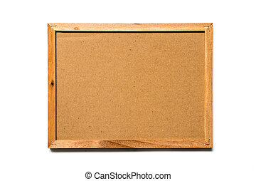Brown kraft paper with wooden frame on white background