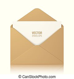 Brown kraft vector envelope isolated on background