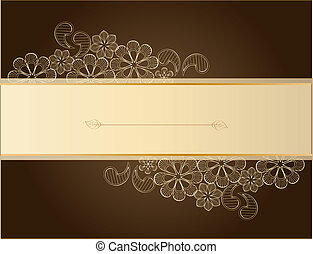 Brown lace - Beauty floral illustration, place for your text