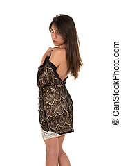 Brown lace - Beautiful petite Eurasian woman in a brown lace...