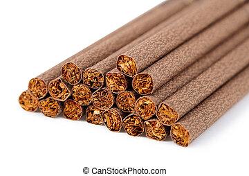 Brown ladies cigarette on white background