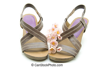 Brown ladies shoes with flowers