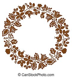 Brown laurel wreath vector frame