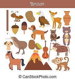 Brown. Learn the color Education set. Illustration of primary colors