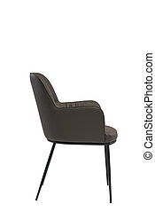 brown leather armchair isolated on white background. modern brown lounge side view. soft comfortable upholstered chair. interrior furniture element.