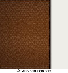 Brown leather background panel on white
