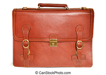 Brown leather bag on a white background