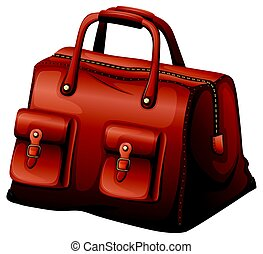 Brown leather bag on white background