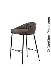 brown leather bar stool isolated on white background. modern brown bar chair front view. soft comfortable upholstered tall chair. interrior furniture element.