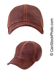 Brown leather baseball caps