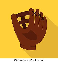Brown leather baseball glove icon, flat style