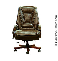 Brown leather chair, isolated on a white background