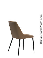 brown leather chair isolated on white background. modern brown stool back view. soft comfortable upholstered chair. interrior furniture element.