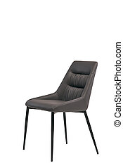brown leather chair isolated on white background. modern brown stool front view. soft comfortable upholstered chair. interrior furniture element.