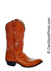 Cowboy Boot - Brown Leather Cowboy Boot isolated on White...