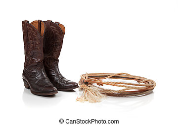 Brown leather cowboy boots on white - Brown leather cowboy ...