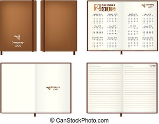 leather diary Vector