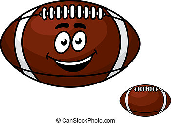 Brown leather football with a happy smile