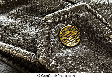 Brown Leather Jacket Button or Snap - Sleeve of leather...