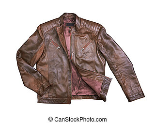 Brown Leather Jacket on white