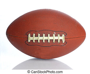 brown leather laced football isolated on white background