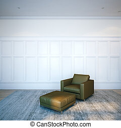 Brown leather lounge chair in white classic interior. 3D render
