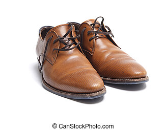 Brown leather mens shoes - Pair of brown leather Italian...