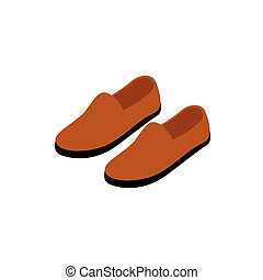 Brown leather shoe icon, isometric 3d style