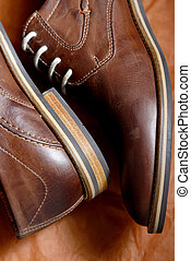 Brown Leather shoes - Detail of Male Brown Leather shoes