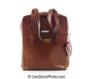 brown leather shoulder bag isolated on white background