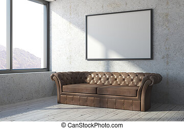 Brown leather sofa in concrete room