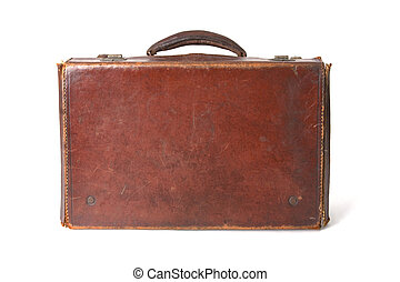 Brown leather suitcase - Old style brown leather suitcase...