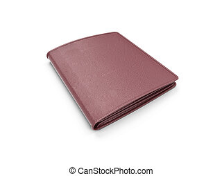 isolated brown leather wallet over white