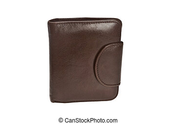Brown leather wallet isolated on the white background