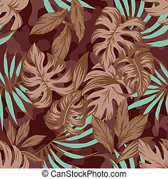 Brown leaves on camo background