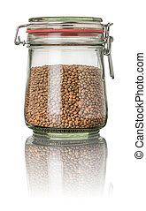 Brown lentils in a jar