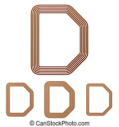 Brown letter d logo design set