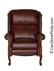 Brown library leather chair