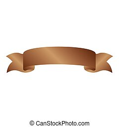 brown light label with ribbon on gradient