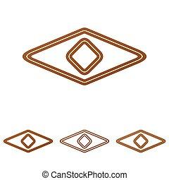 Brown line eye logo design set